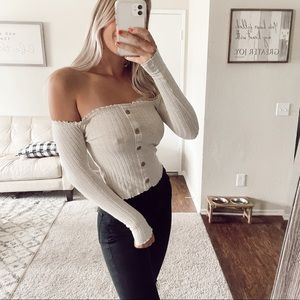 Tan Off The Shoulder Long Sleeve Buttons